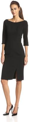 Black Halo Women's 3/4 Sleeve Bottom Slit Marisa Sheath Dress