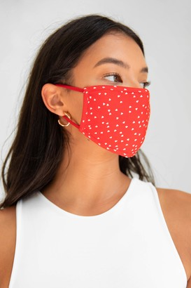 Nasty Gal Womens Let's Face It Spotty Fashion Face Mask - Red - ONESIZE, Red