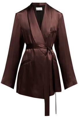 Raey Shawl Collar Silk Satin Pyjama Jacket - Womens - Burgundy