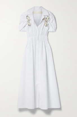 Rosie Assoulin By Any Other Name Silk Twill-trimmed Cotton-poplin Shirt Dress - White
