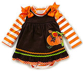 Rare Editions Baby Girls 3-24 Months Thanksgiving Pumpkin Jumper Dress & Striped Bodysuit Set