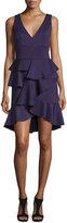 Jovani Sleeveless V-Neck Ruffle Dress, Purple