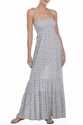 BOHO ME Smocked Print Maxi Dress