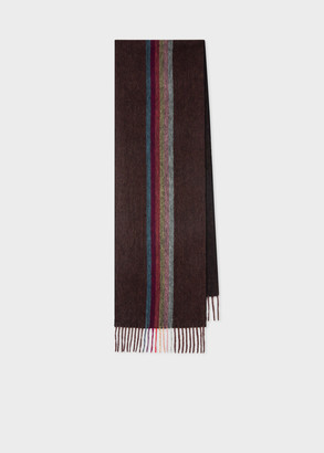 Paul Smith Men's Burgundy 'Artist Stripe' Central Band Cashmere Scarf
