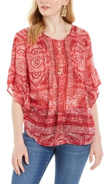 Style&Co. Style & Co Abstract-Print Pintuck Blouse, Created for Macy's