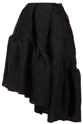Dune Cecilie Bahnsen Asymmetric Peplum-hem Matelasse Skirt - Womens - Black