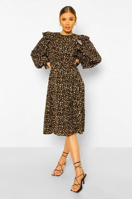 boohoo Leopard Print Ruffle Sleeve Midi Dress