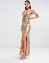 TFNC Cold Shoulder Sequin Maxi Dress