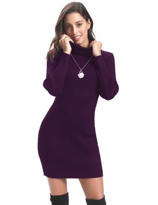 Abollria Women Knitted Jumper Dress Knitwear Slim Long Sleeve Jumper Sweater Tops White