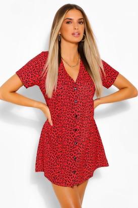 boohoo Leopard Print Button Shift Dress