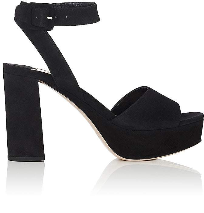 Miu Miu Women's Suede Ankle-Strap Platform Sandals