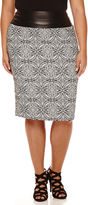 Bisou Bisou Waist-Blocked Back-Zip Jacquard Skirt - Plus
