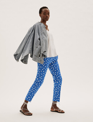 Marks and Spencer Mia Slim Cotton Polka Dot 7/8 Trousers