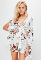 Missguided White Tie Front Printed Slit Sleeve Crop Top, White