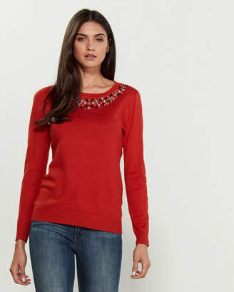 Vila Milano Long Sleeve Crew Neck Faux Jewel Sweater