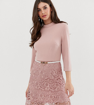 Paper Dolls Tall 2 in 1 lace a-line mini dress-Pink