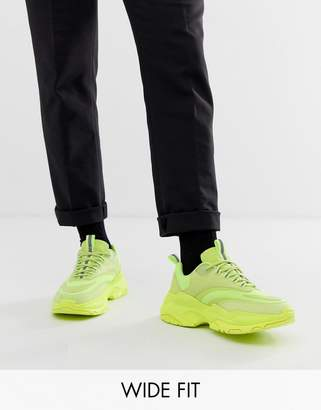 Asos Design DESIGN Wide Fit trainers in neon with chunky sole-Yellow