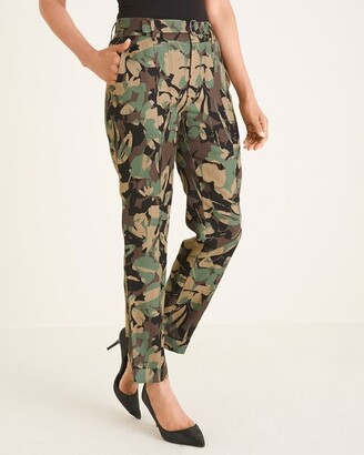 Chico's Belted Camo-Floral Utility Ankle Pants