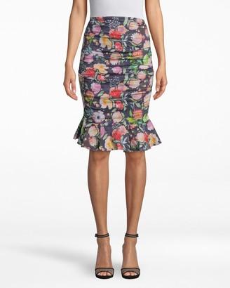 Nicole Miller Watercolor Floral Cotton Metal Ruffle Skirt