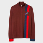 Paul Smith Women's Burgundy Half-Zip Sweater With Embroidered 'Feather'