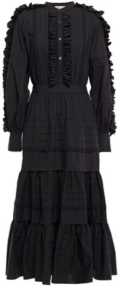 Temperley London Jade Tiered Ruffle-trimmed Cotton-poplin Midi Dress