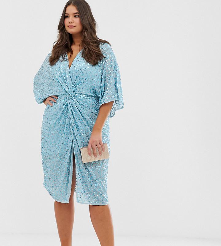Asos Curve ASOS DESIGN Curve scatter sequin knot front kimono midi dress-Blue
