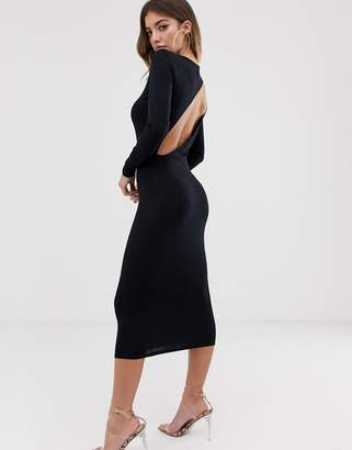 Asos Design DESIGN going out long sleeve backless bodycon midi dress-Black