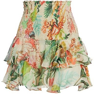 PatBO Oasis Shirred Ruffle Mini Skirt