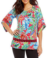 Multiples 3/4 Sleeve Floral Print Accent Lace Detail Peasant Top