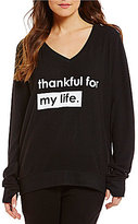 Peace Love World V-Neck Long Sleeve Comfy Top
