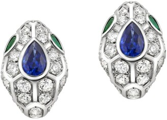 Bvlgari White Gold, Diamond, Blue Sapphire and Emerald Serpenti Earrings