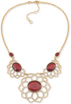 Carolee Gold-Tone Stone and Pavé Floral-Inspired Statement Necklace