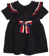 Gucci Stripe Ruffle Trim Cotton Jersey Dress
