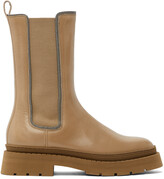 Thumbnail for your product : Brunello Cucinelli Tan Leather Embellished Chelsea Boots