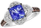 LeVian Chocolatier Vanilla Diamond, Chocolate Diamond, Tanzanite and 14K White Gold Ring
