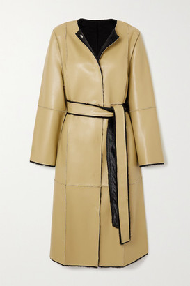 Stand Studio Jamie Reversible Belted Faux Leather And Faux Shearling Coat - Mustard
