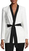 Vince Camuto Belted Kimono Jacket, White/Black