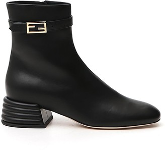 Fendi Micro FF Baguette Buckle-Detailed Ankle Boots