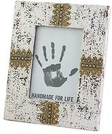 Novica Bohemian Brass and Glass Frame, White, 5x7, 'White Elegance'