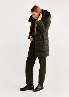 MANGO Hood quilted coat with removable lining khaki - XXS - Women