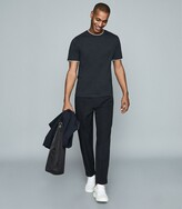 Reiss Walter - Cotton T-shirt With Double-layer Detail in Navy