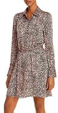Equipment Cheetah Print Belted Shirtdress
