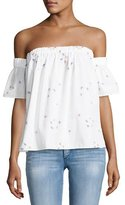 Milly Off-the-Shoulder Surfer-Print Coupé Top, White