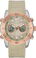 Sean John Men's Analog-Digital Concord Beige Silicone Strap Watch 47mm