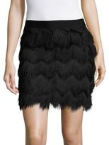 Max Studio Chevron Patterned Fringe Skirt
