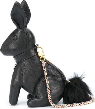 Thom Browne Small Rabbit Bag W/ Rwb Gg Woven Chain In Pebble Grain Leather