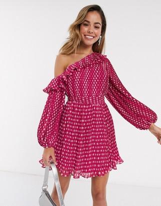 Talulah Power of Love polkadot one shoulder mini dress in peach spot