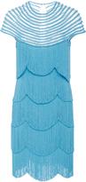 Naeem Khan Short Sleeve Flapper Fringe Mini Dress