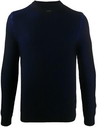 Zanone Crew Neck Waffle-Knit Sweater