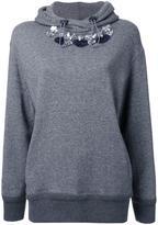 Muveil embellished neckline hoodie
